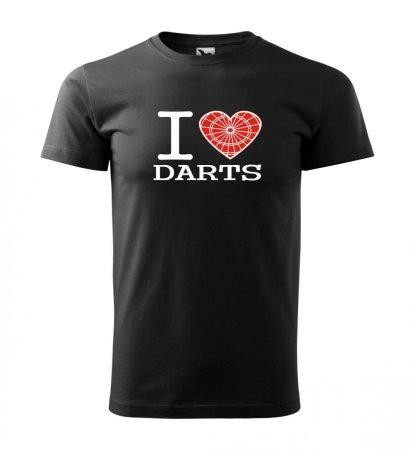Malfini Tričko s potlačou - I Love Darts - black - XXL