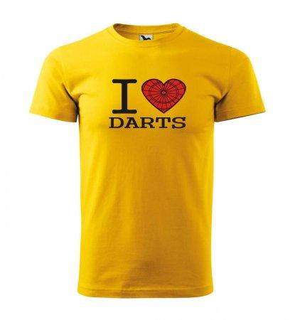 Malfini Tričko s potlačou - I Love Darts - yellow - M