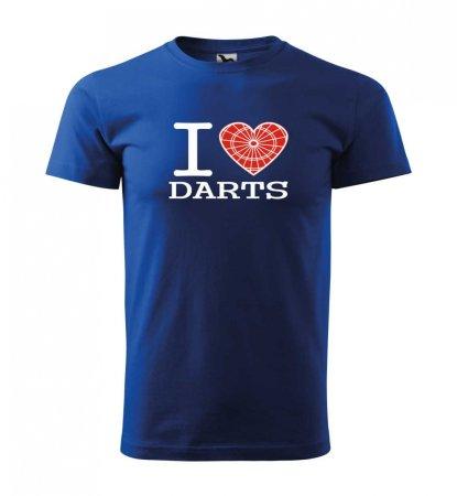 Malfini Tričko s potlačou - I Love Darts - blue - XS
