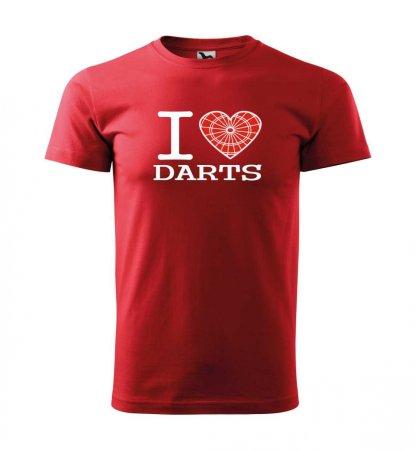 Malfini Tričko s potlačou - I Love Darts - red - S