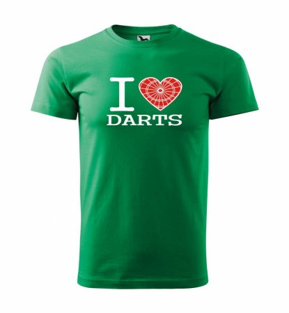 Malfini Tričko s potlačou - I Love Darts - green - M