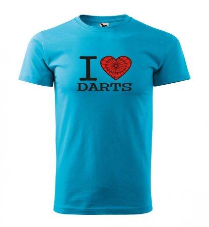 Malfini Tričko s potlačou - I Love Darts - turquoise - XS