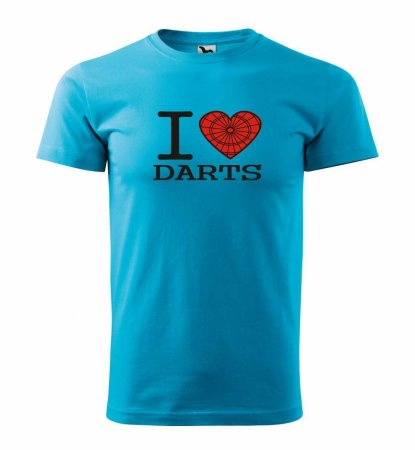 Malfini Tričko s potlačou - I Love Darts - turquoise - 4XL