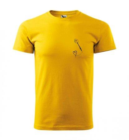 Malfini Tričko s potlačou - Srdiečko - yellow - XS
