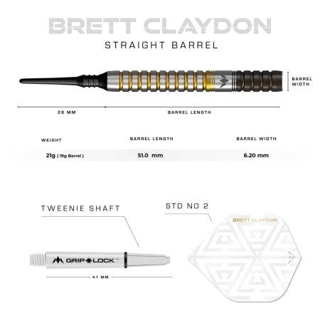 Mission Šípky Brett Claydon - Black & Gold - 21g